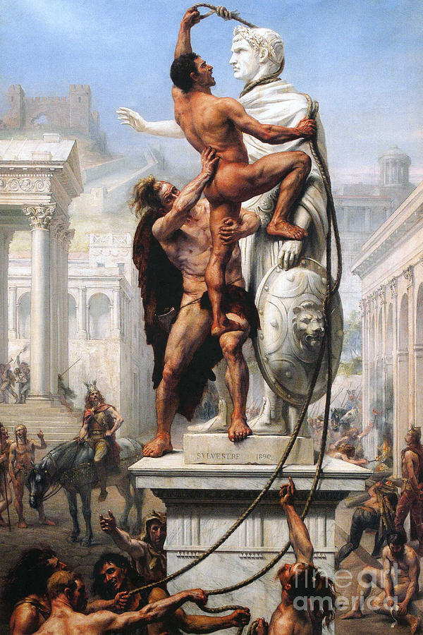 Civilisation Painting - The Sack of Rome by Visigoths in 410 by Joseph-Noel Sylvestre