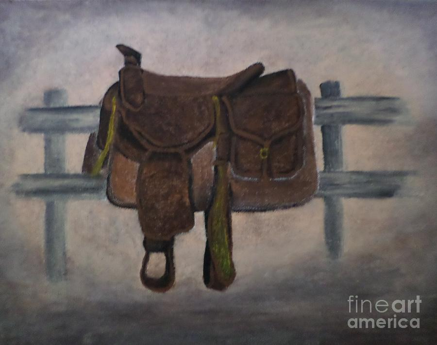 Saddle Painting - The Saddle by Christy Saunders Church