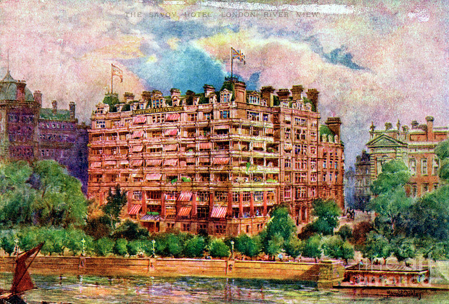 The Savoy Hotel As Seen From The River Drawing by Print Collector