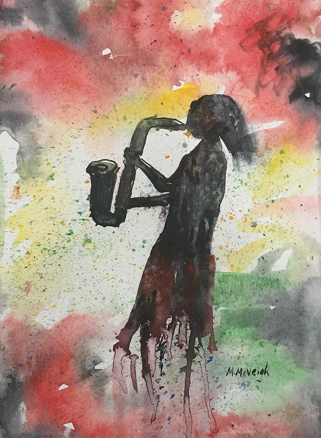 Sax Player Painting - The Sax Player by Marita McVeigh