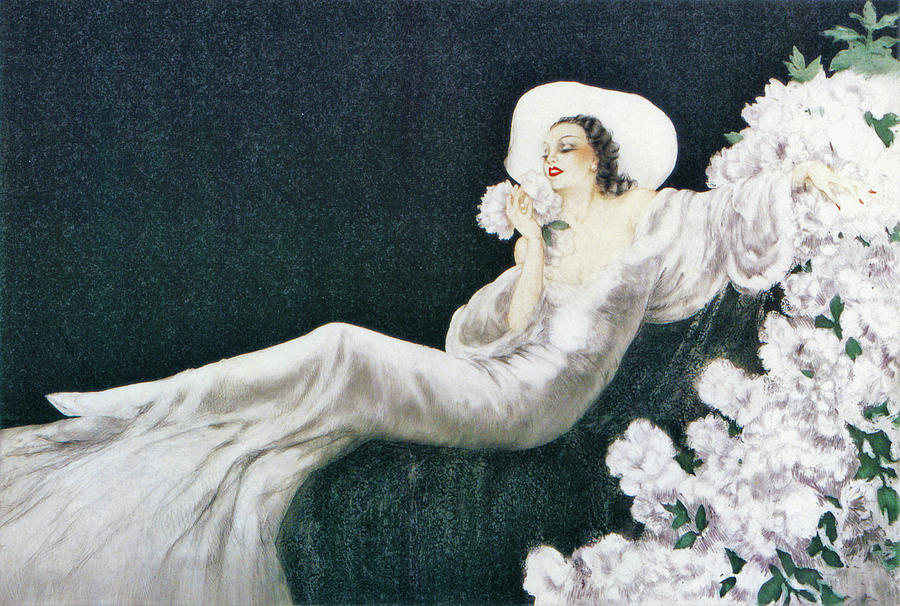 Louis Icart Painting - The Scent Of Flowers, Love Flower - Digital Remastered Edition by Louis Icart