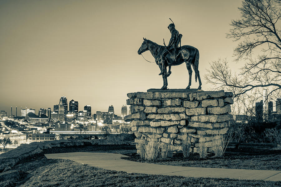 The Scout Overlooking The Kansas City Skyline - Sepia Edition Photograph