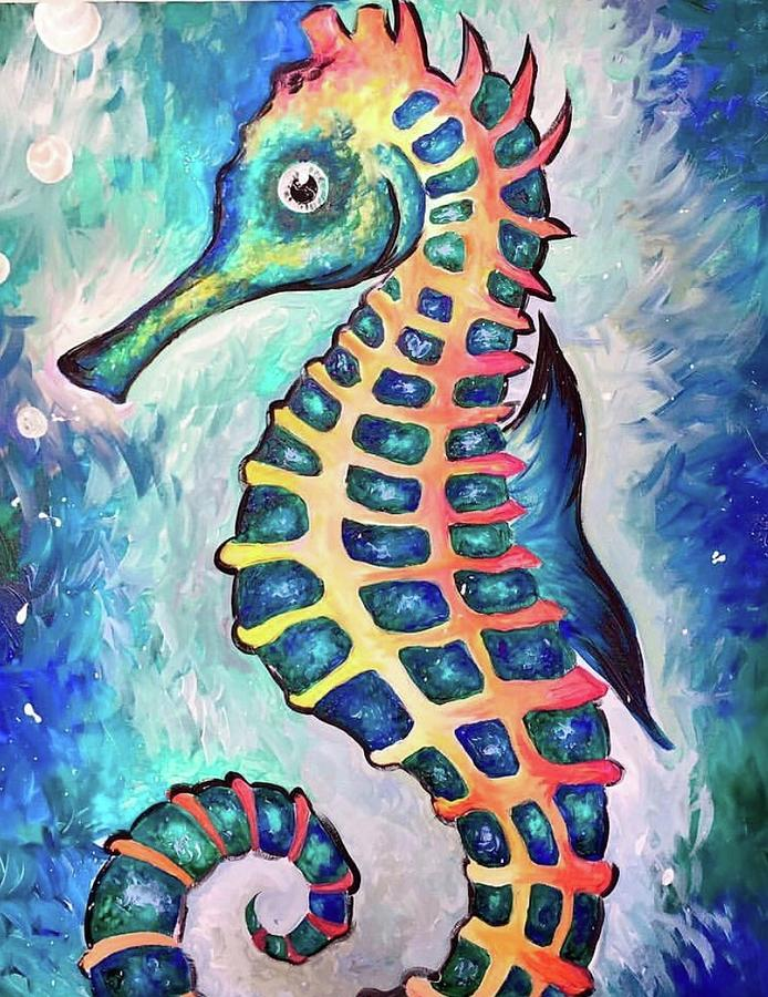 The Seahorse Painting By Annabella Brewster