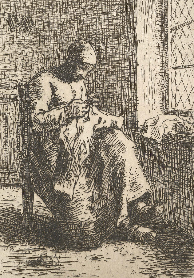 The Seamstress by Jean-Francois Millet