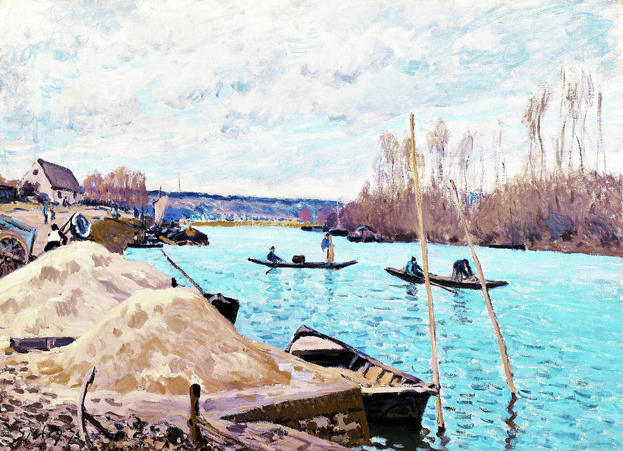 Alfred Sisley Painting - The Seine At Port-marly, Piles Of Sand - Digital Remastered Edition by Alfred Sisley