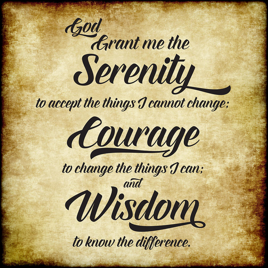 The Serenity Prayer - Antique Parchment Square by Ginny Gaura