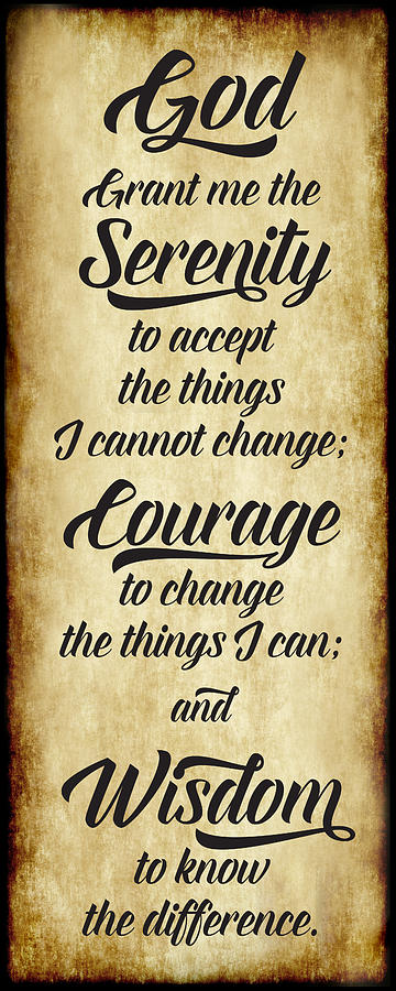 The Serenity Prayer - Antique Parchment Vertical by Ginny Gaura