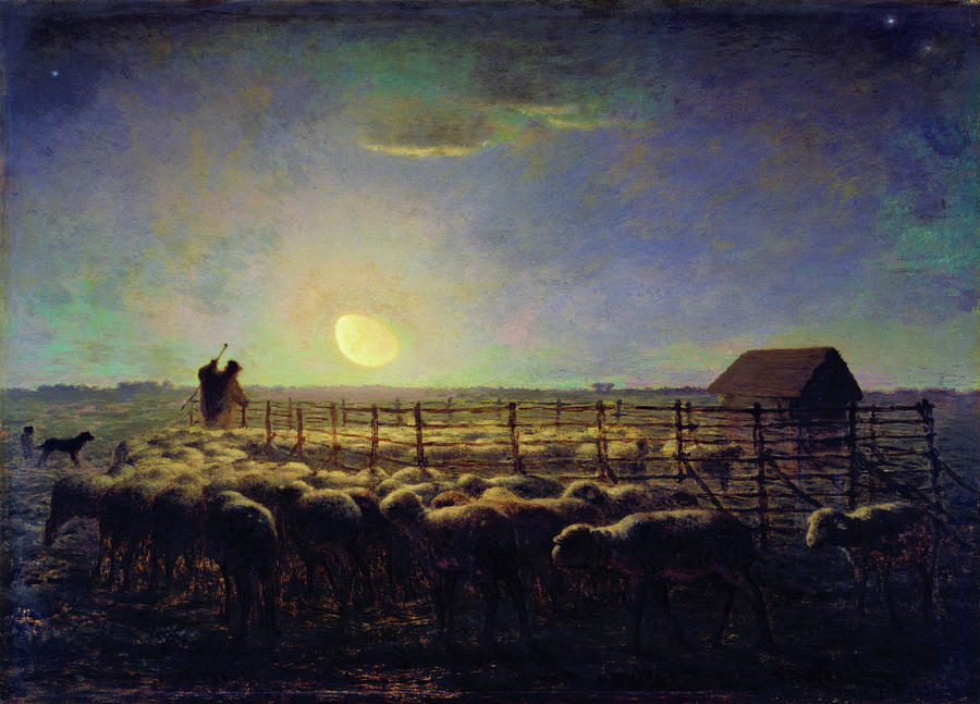 Jean-francois Millet Painting - The Sheepfold, Moonlight - Digital Remastered Edition by Jean-Francois Millet
