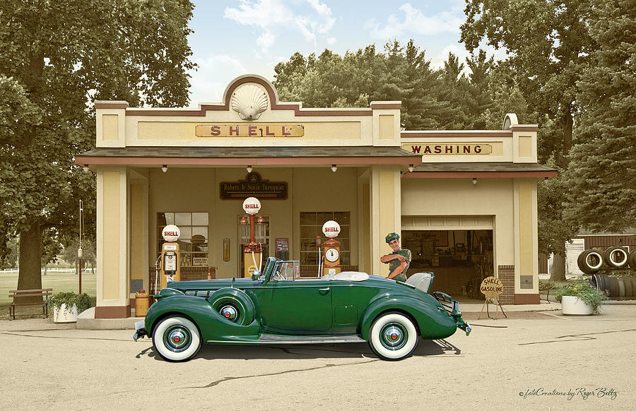 The Shell station -1940 by Roger Beltz