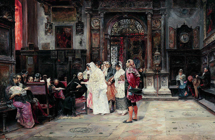 Signing Painting - The Signing Of The Marriage Contract by Jose Gallegos y Arnosa
