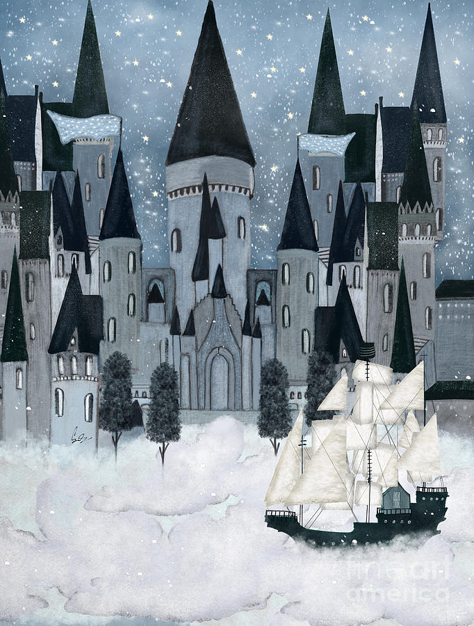 Childrens Painting - The Sky Wizards Castle by Bri Buckley