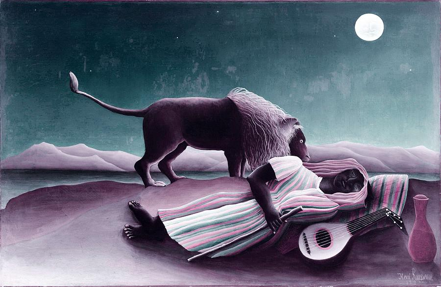 Man Painting - The Sleeping Gypsy By Henri Rousseau -  Infrared Version by Henri Rousseau