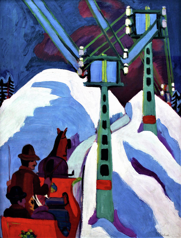 The Sleigh Ride Painting - The Sleigh Ride - Digital Remastered Edition by Ernst Ludwig Kirchner