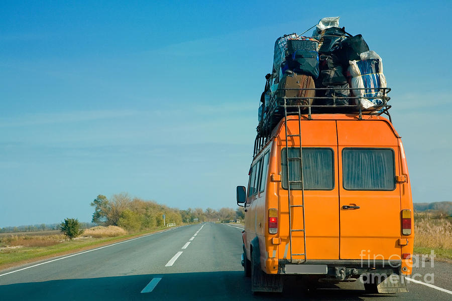 Door Photograph - The Small Bus With Bags On A Roof by Krivosheev Vitaly