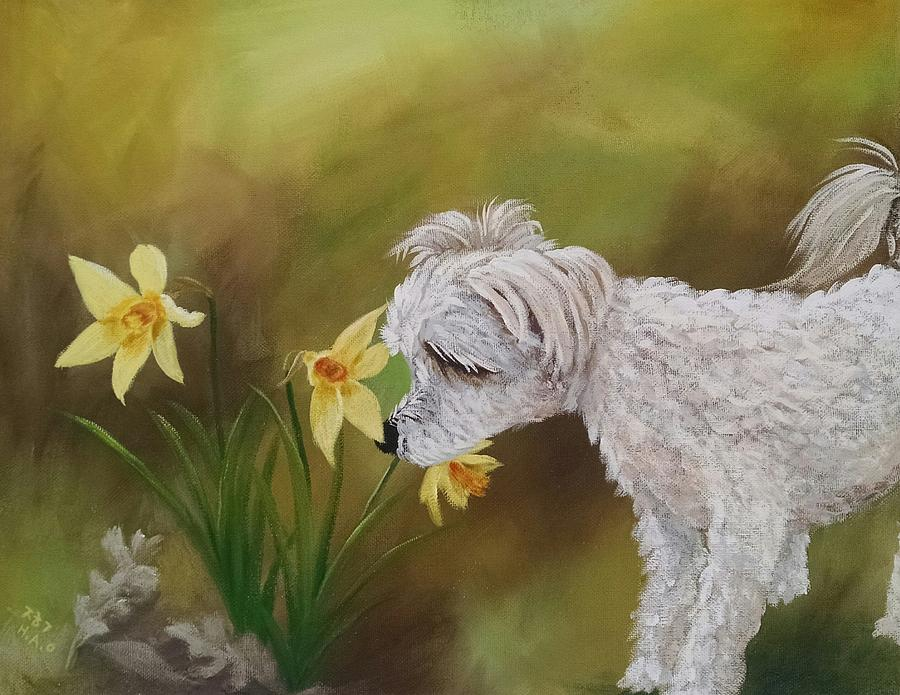 Dog Portrait Painting - The Smell Of Spring by Helian Osher
