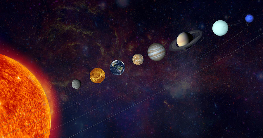 The Solar System In A Line Photograph by Alxpin