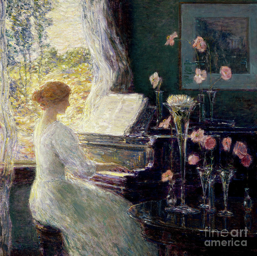 Woman Painting - The Sonata, 1911  by Childe Frederick Hassam