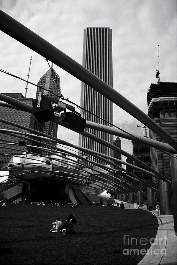 Skyscrapers Photograph - The Sound of Music Chicago - Monochrome by Frank J Casella