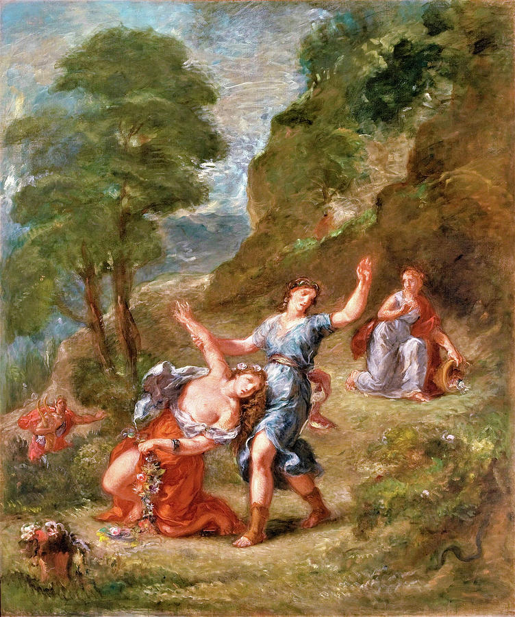 Eugene Delacroix Painting - The Spring - Eurydice bitten by a serpent while picking flowers, Eurydices death by Eugene Delacroix