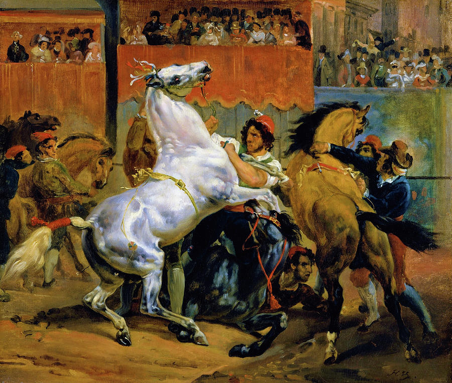 Horace Vernet Painting - The Start Of The Race Of The Riderless Horses - Digital Remastered Edition by Horace Vernet