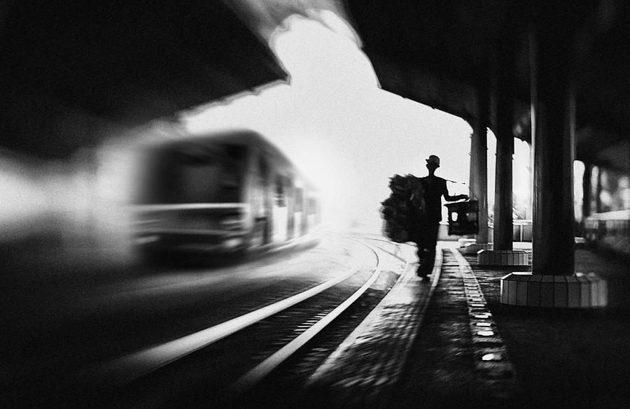 Street Photograph - @the Station: Train & Trader by Sebastian Kisworo