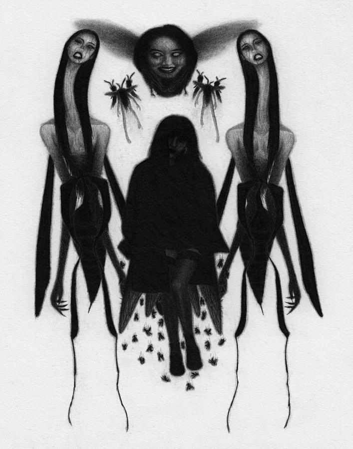 Horror Drawing - The Stinging Women - Artwork  by Ryan Nieves