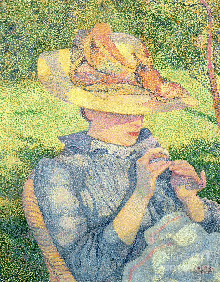 Pointillism Painting - The Straw Hat, 1890 by Theo van Rysselberghe