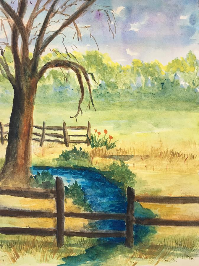 Landscape Painting - The Stream by Marita McVeigh