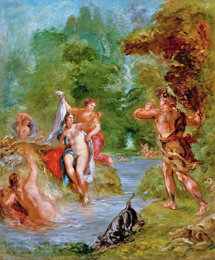 The Summer Painting - The Summer - Diana Surprised By Actaeon - Digital Remastered Edition by Eugene Delacroix
