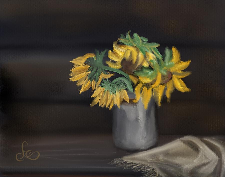The Sun Flowers  Painting by Fe Jones