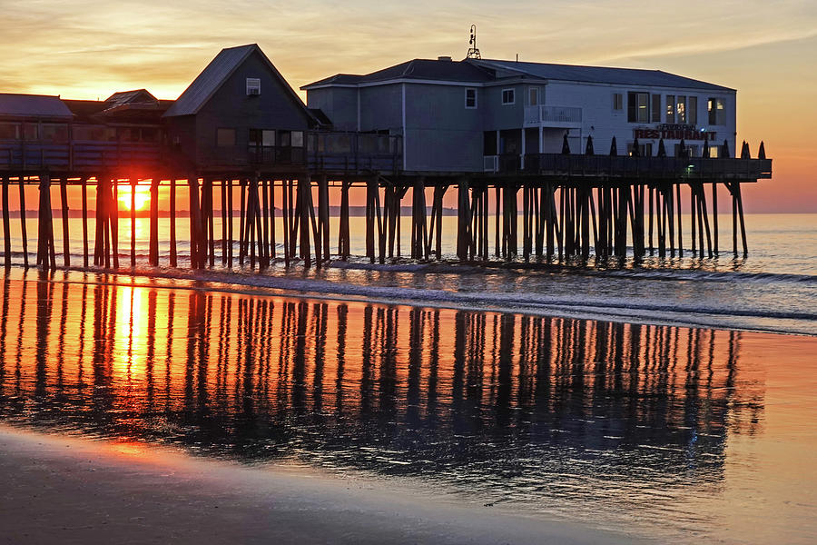 The Sun Rises on the Old Orchard Beach Maine Pier by Toby McGuire