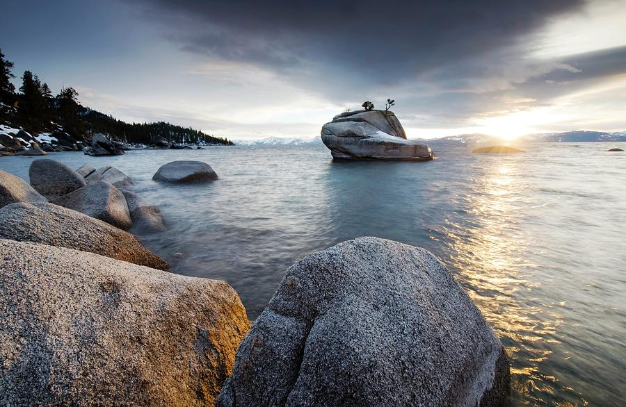 The Sunset Reflects Off Of Lake Tahoe Photograph by Rachid Dahnoun