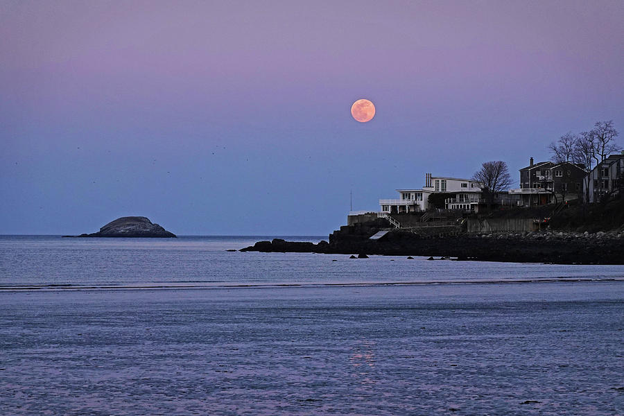 The Super Worm Moon 2019 over Egg Rock in Nahant MA Beach by Toby McGuire