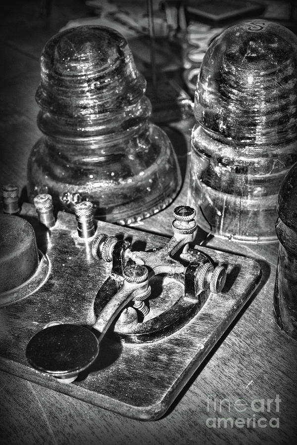 Paul Ward Photograph - The Telegraph And Glass Insulators Black And White by Paul Ward