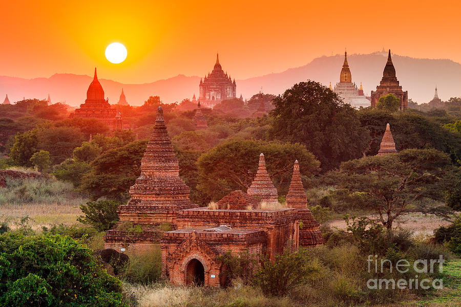 Sunrise Photograph - The  Temples Of Baganpagan, Mandalay by Lkunl