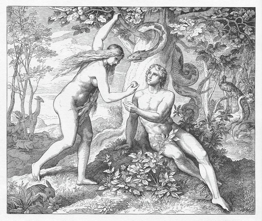 Bible Painting - The Temptation, Adam And Eve by Julius Schnoor von Carolsfeld