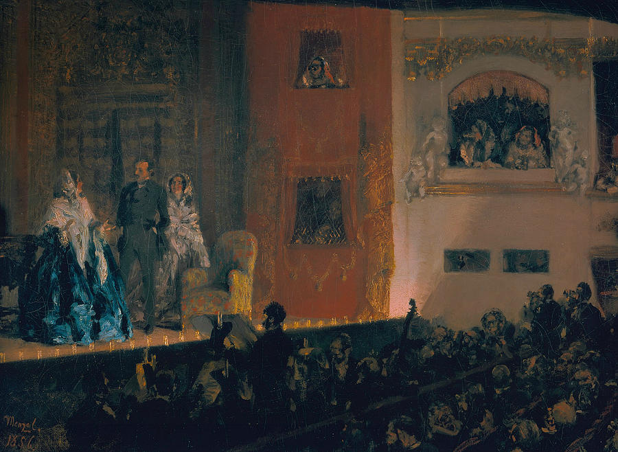 Adolph Menzel Painting - The Theatre Du Gymnase by Adolph Menzel