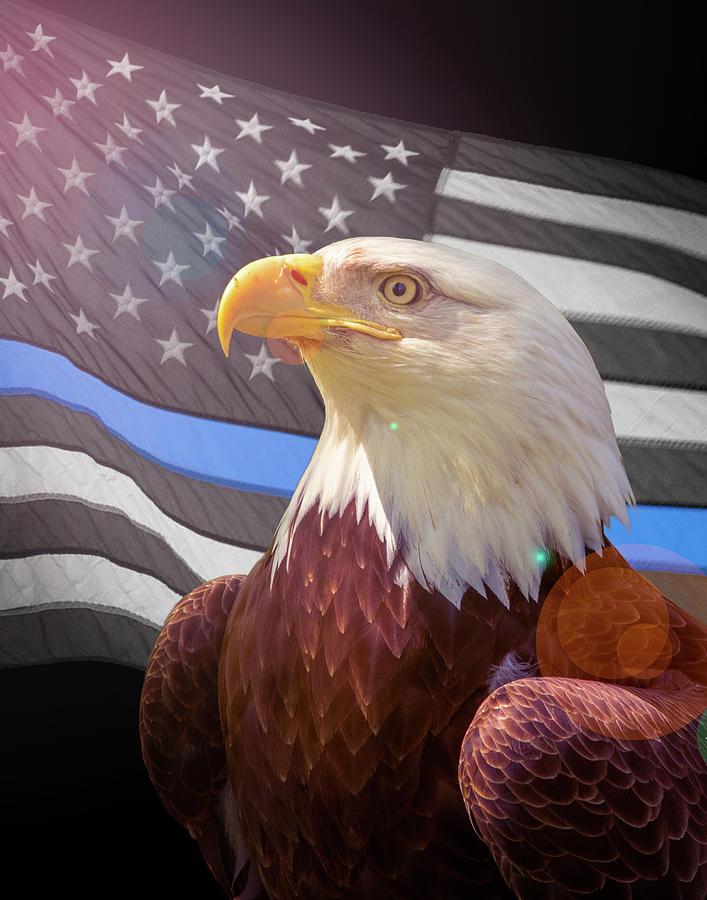 The Thin Blue Line Flag Eagle by Brian Caldwell