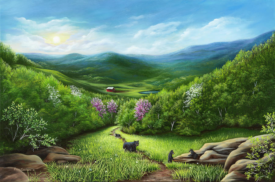 Black Bear Painting - The Three Little Bears by Art By Penny Elaine
