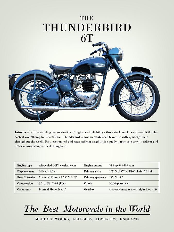 Vintage Motorcycle Photograph - The Thunderbird 6t Vintage Advert 1952 by Mark Rogan
