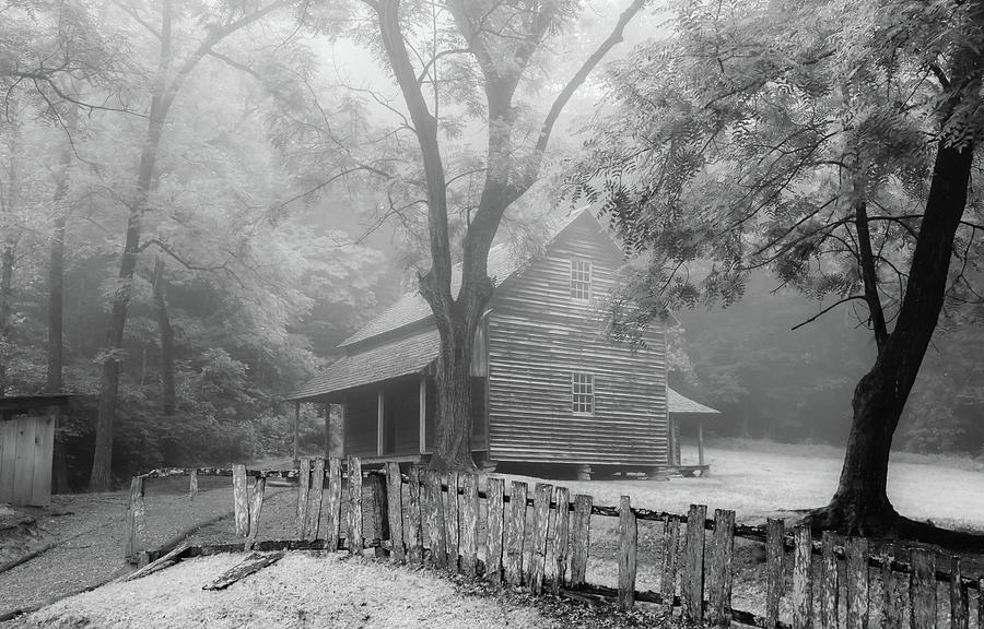 The Tipton Place on a Foggy Morning, Black and White by Marcy Wielfaert