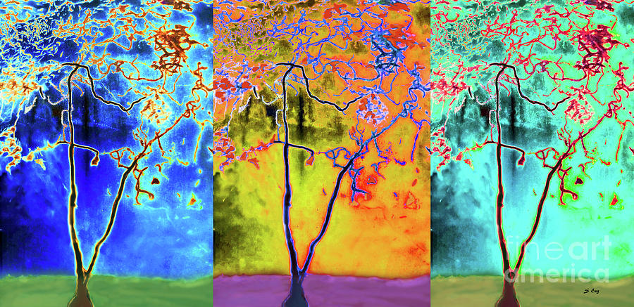 The Tree Abstract Seasons Triptych 300 by Sharon Williams Eng
