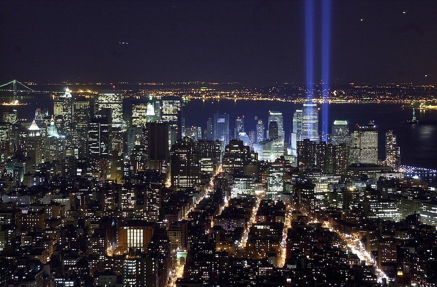 The Tribute In Light - Two Tall Shafts Photograph by New York Daily News Archive