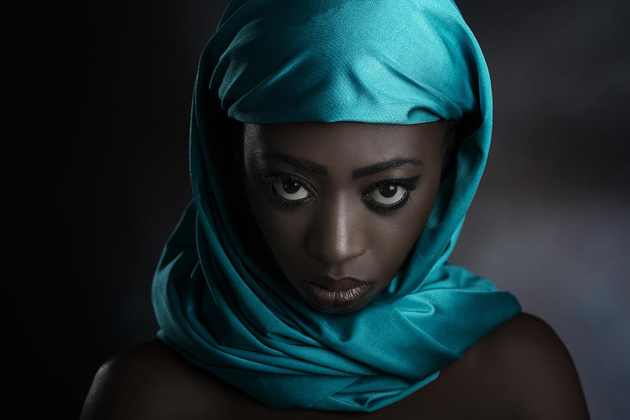 Teal Photograph - The Turquoise Scarf by Peppe   Tambè