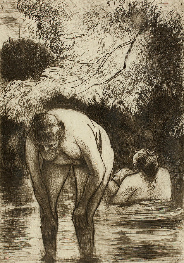 French Painters Relief - The Two Bathers by Camille Pissarro