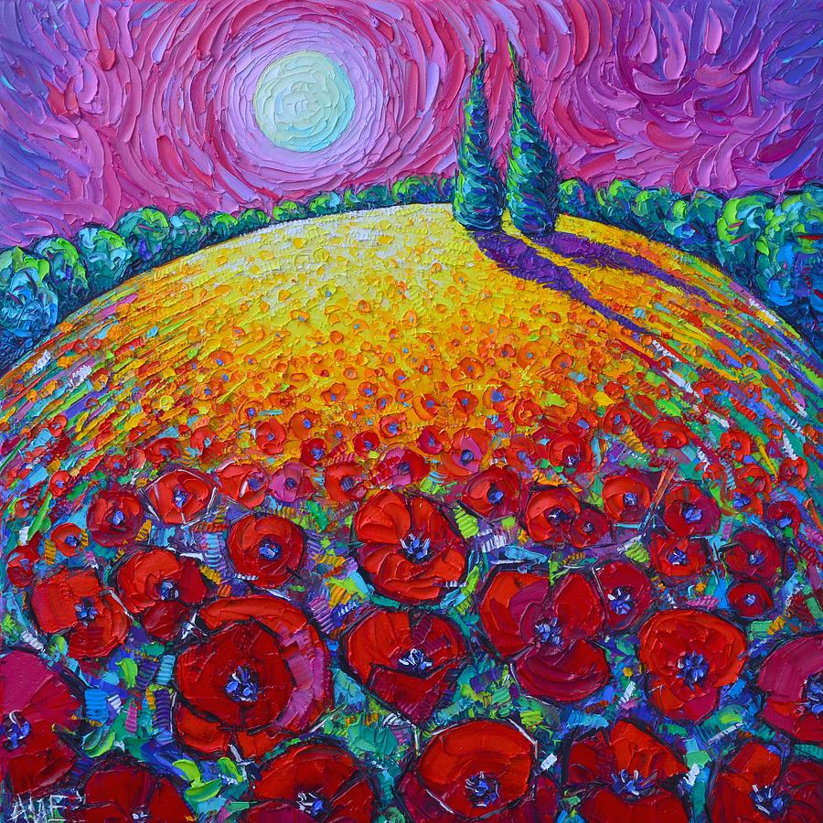THE TWO OF US POPPIES ROUNDSCAPE textural impasto knife oil painting night moon Ana Maria Edulescu by ANA MARIA EDULESCU