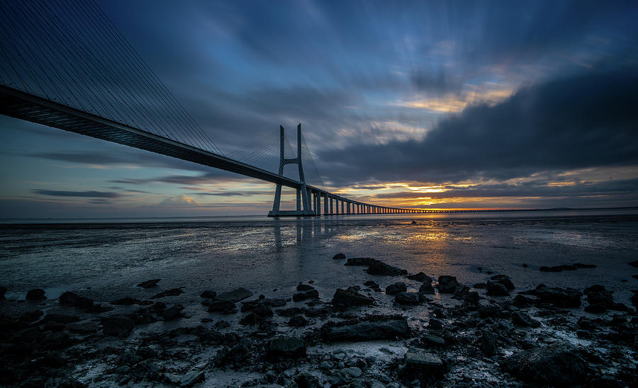 The Vasco Da Cama Bridge In Lisbon Portugal Photograph