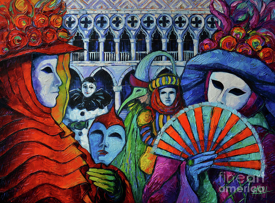 The Carnival Of Venice - Textural Impasto Palette Knife Oil Painting Mona Edulesco Painting
