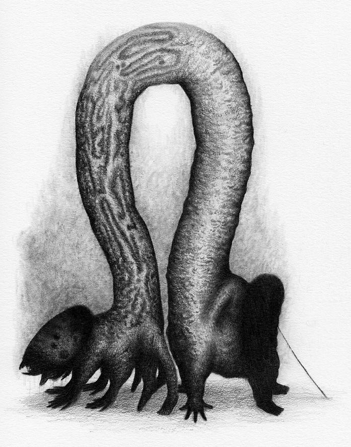 Horror Drawing - The Very Hungry Inch Worm - Artwork by Ryan Nieves
