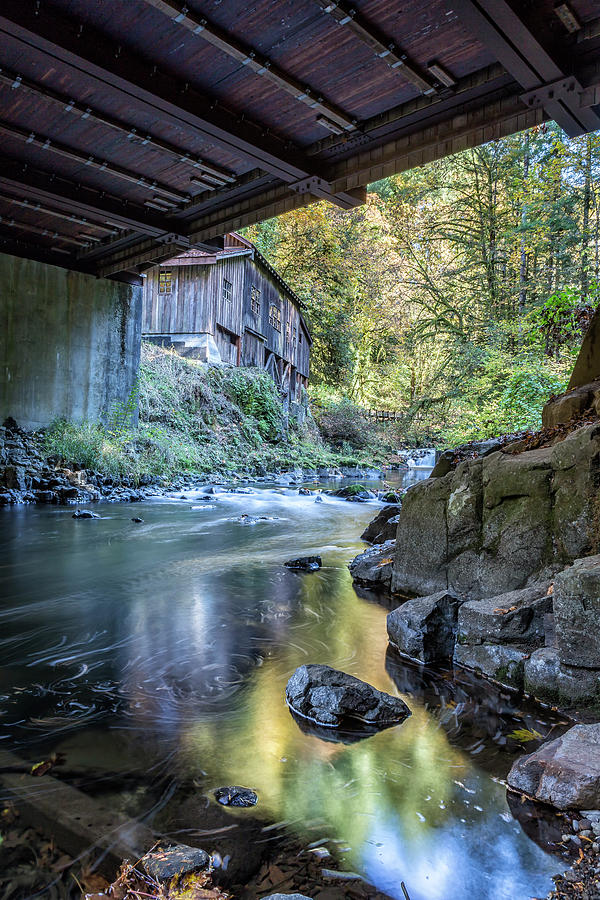 The View of Cedar Creek Grist Mill from Under The Bridge by Belinda Greb
